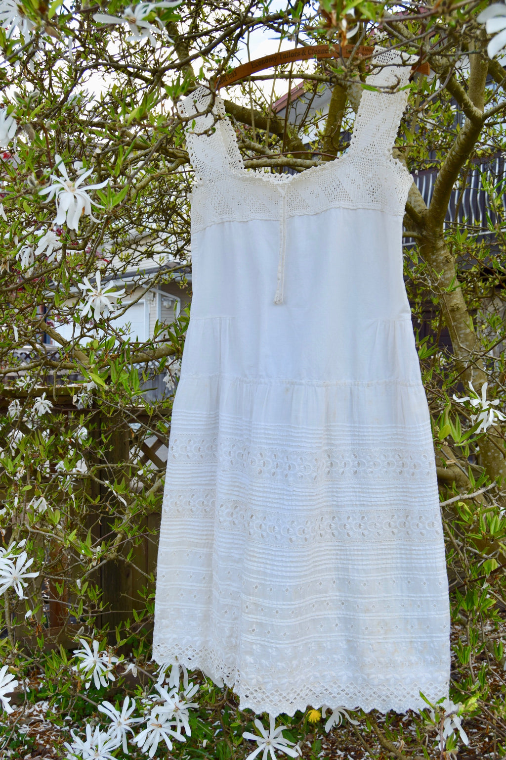 Antique Cotton Cream Crochet And Eyelet Summer Dress
