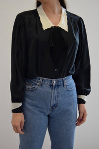 Black and White Silk Pilgrim Style Blouse