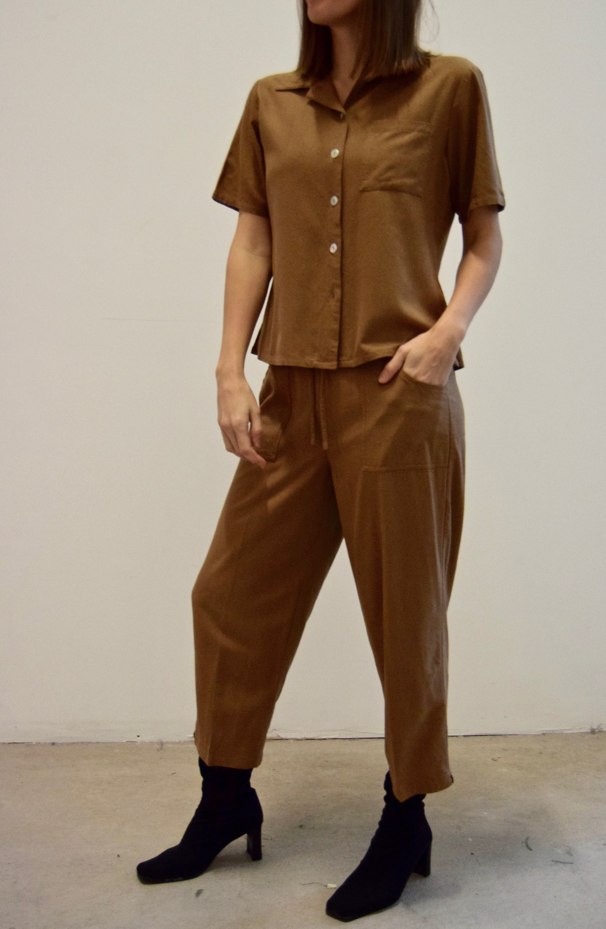 Cedar Two Piece Raw Silk Set