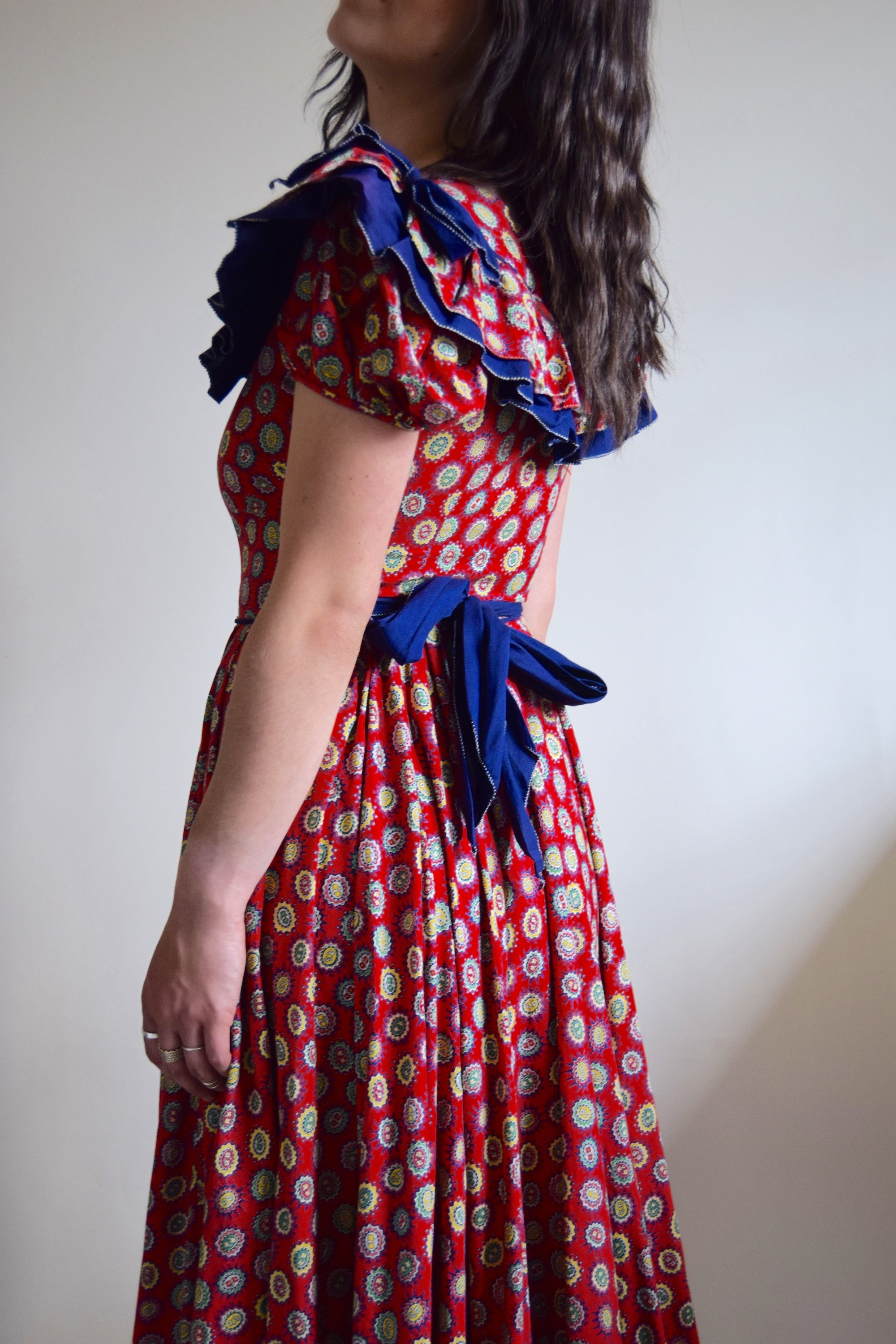 1950's Cherry Red Cotton Country Gown