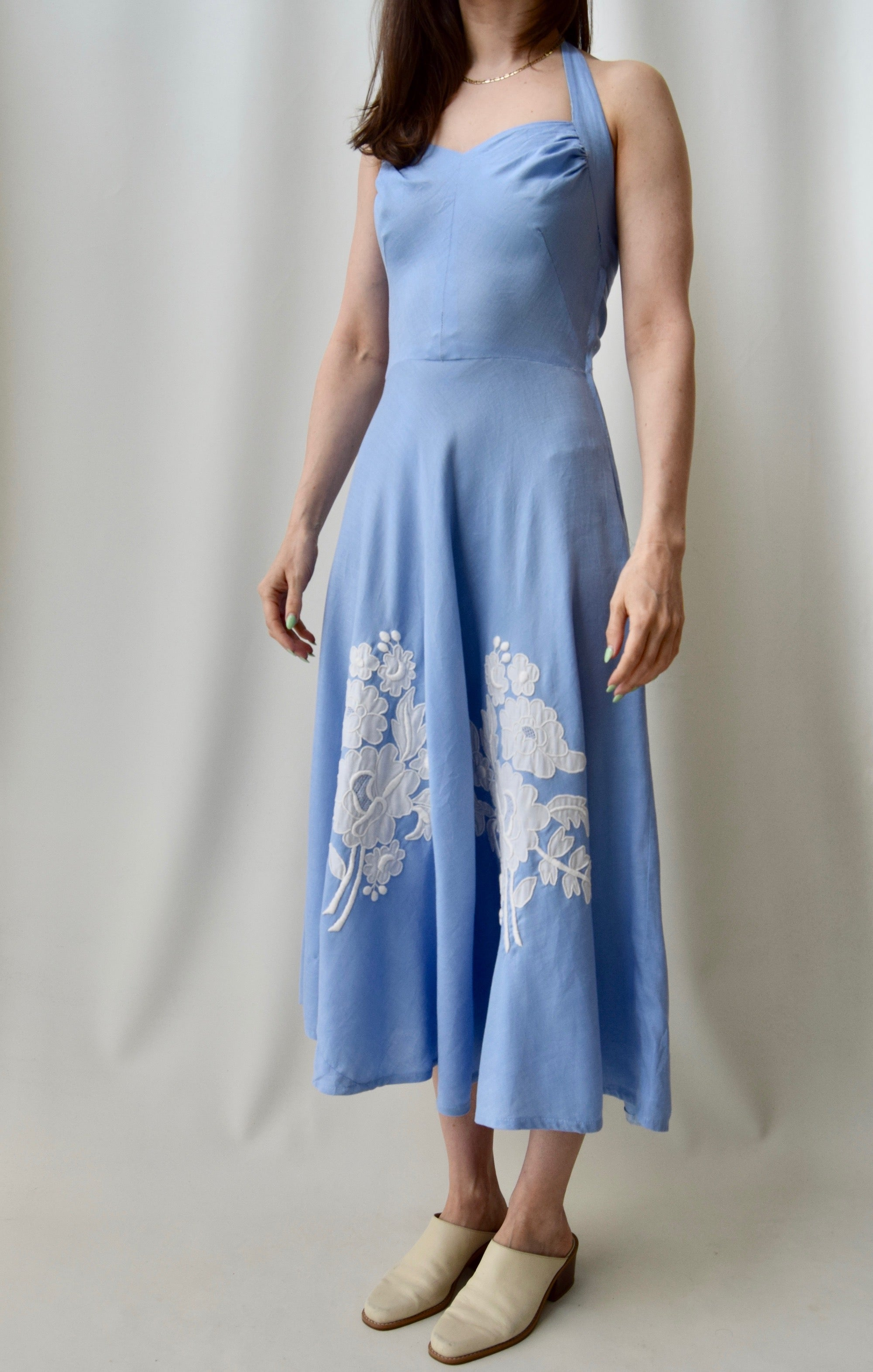 1950's Baby Blue Linen Blend Halter Dress