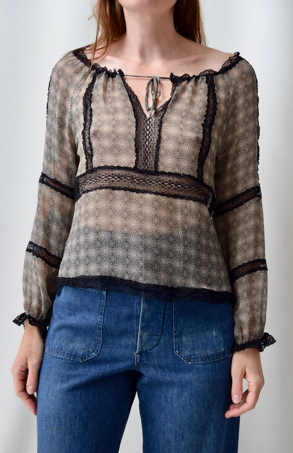 Silk Patterned Long Sleeve Top