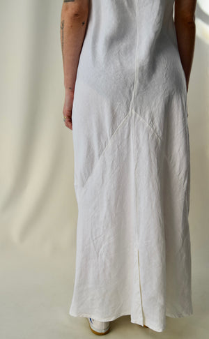 Cut Loose White Linen Maxi Tank Dress FREE SHIPPING TO THE U.S.