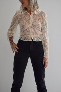 Vintage Cream Lace Ruffle Blouse FREE SHIPPING