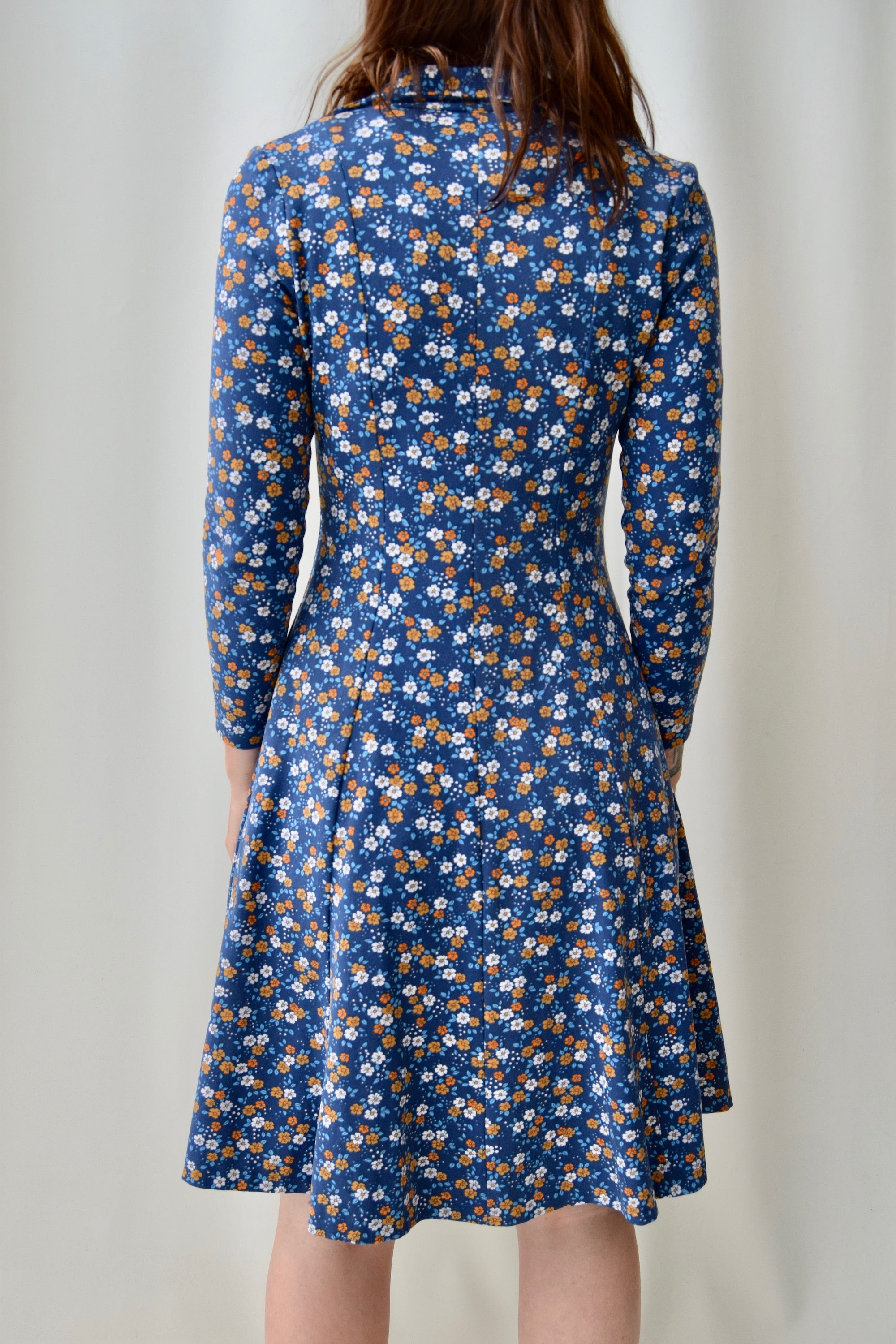70's Poly Micro Floral Dress