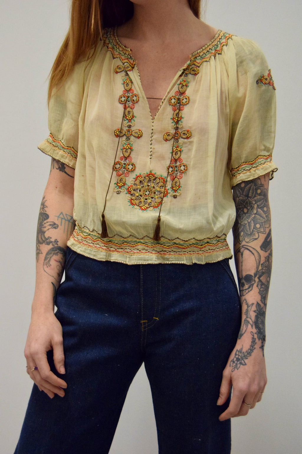 1930's Hungarian Embroidered Gauze Cotton Blouse
