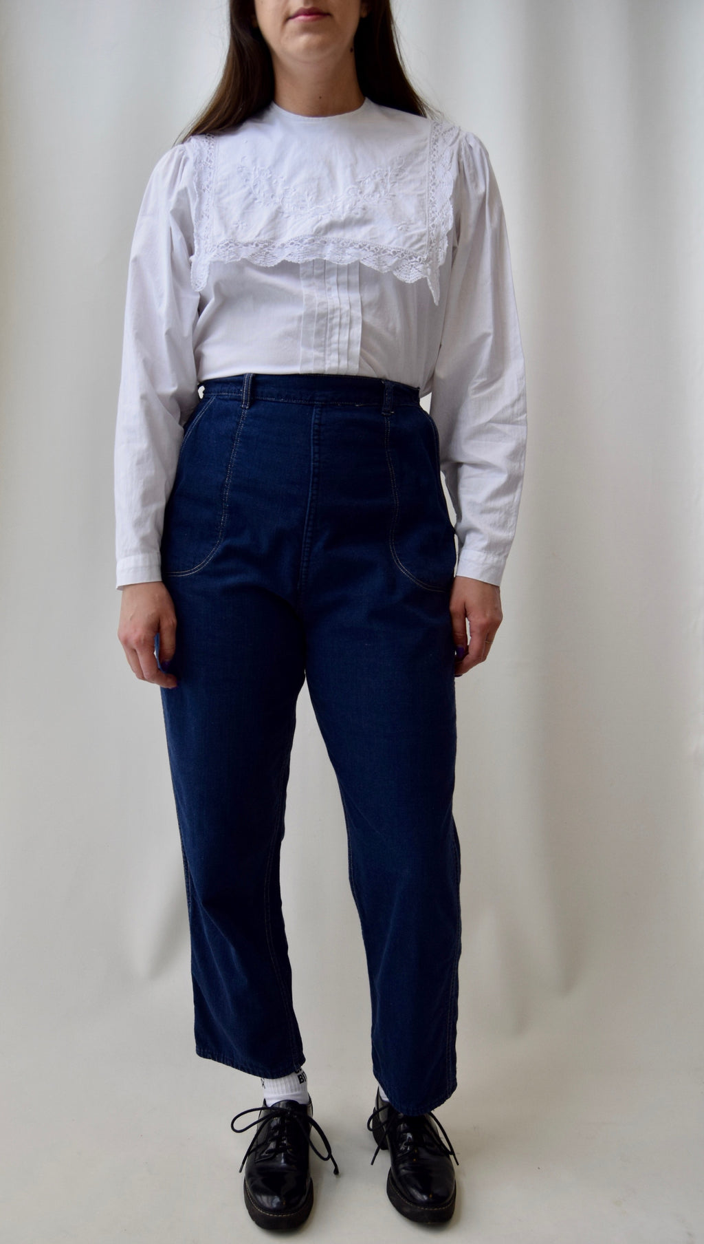 Vintage Flannel Lined Side Zip Denim Trousers