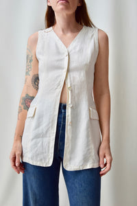 White Linen Tunic Vest Top