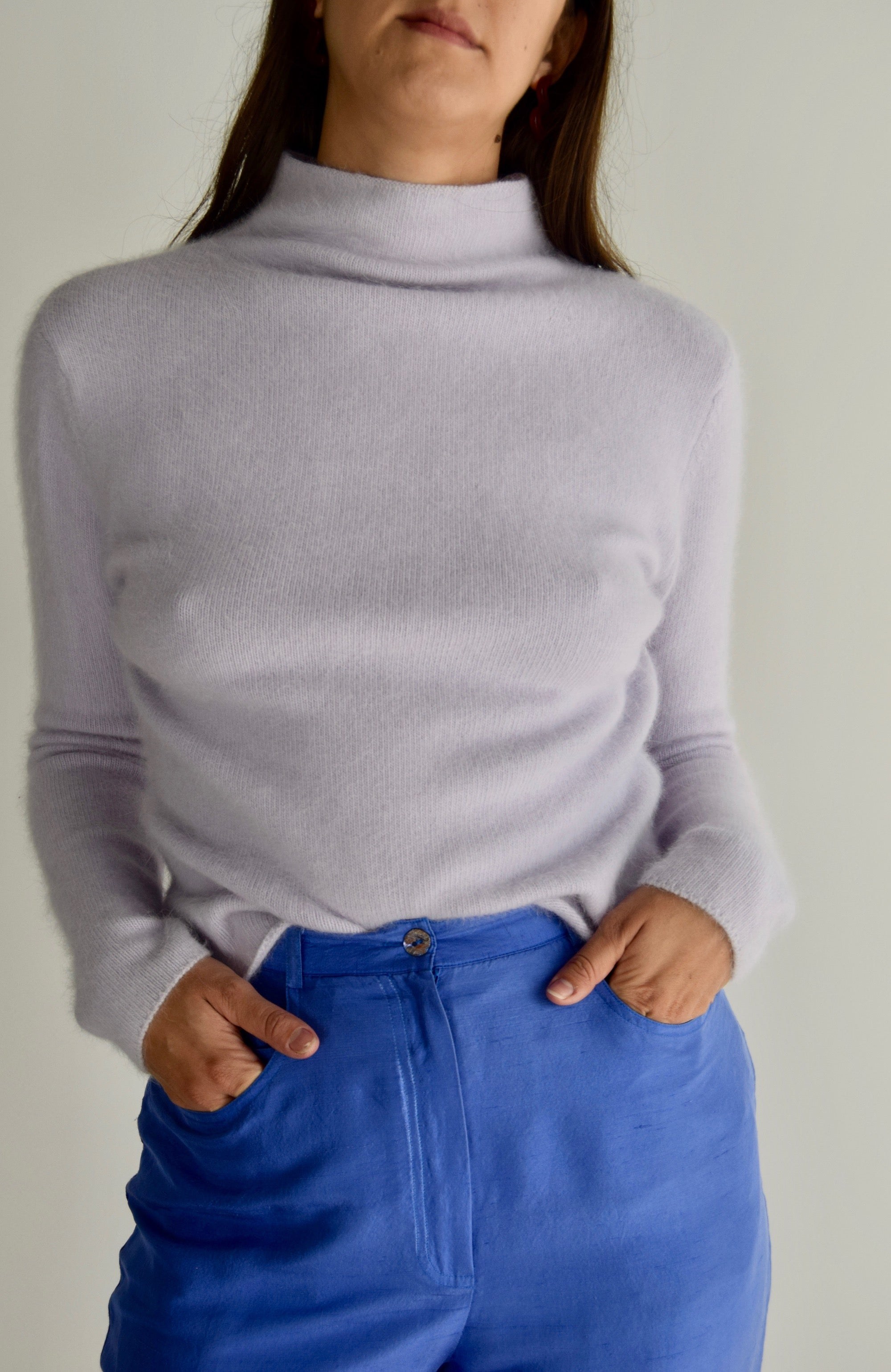 Lavender Angora Mock Neck Sweater