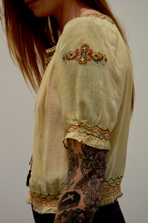 1930's Hungarian Embroidered Gauze Cotton Blouse FREE SHIPPING TO THE U.S.