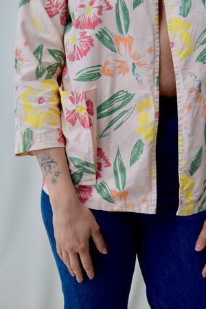 Pink Abstract Floral Cotton Jacket