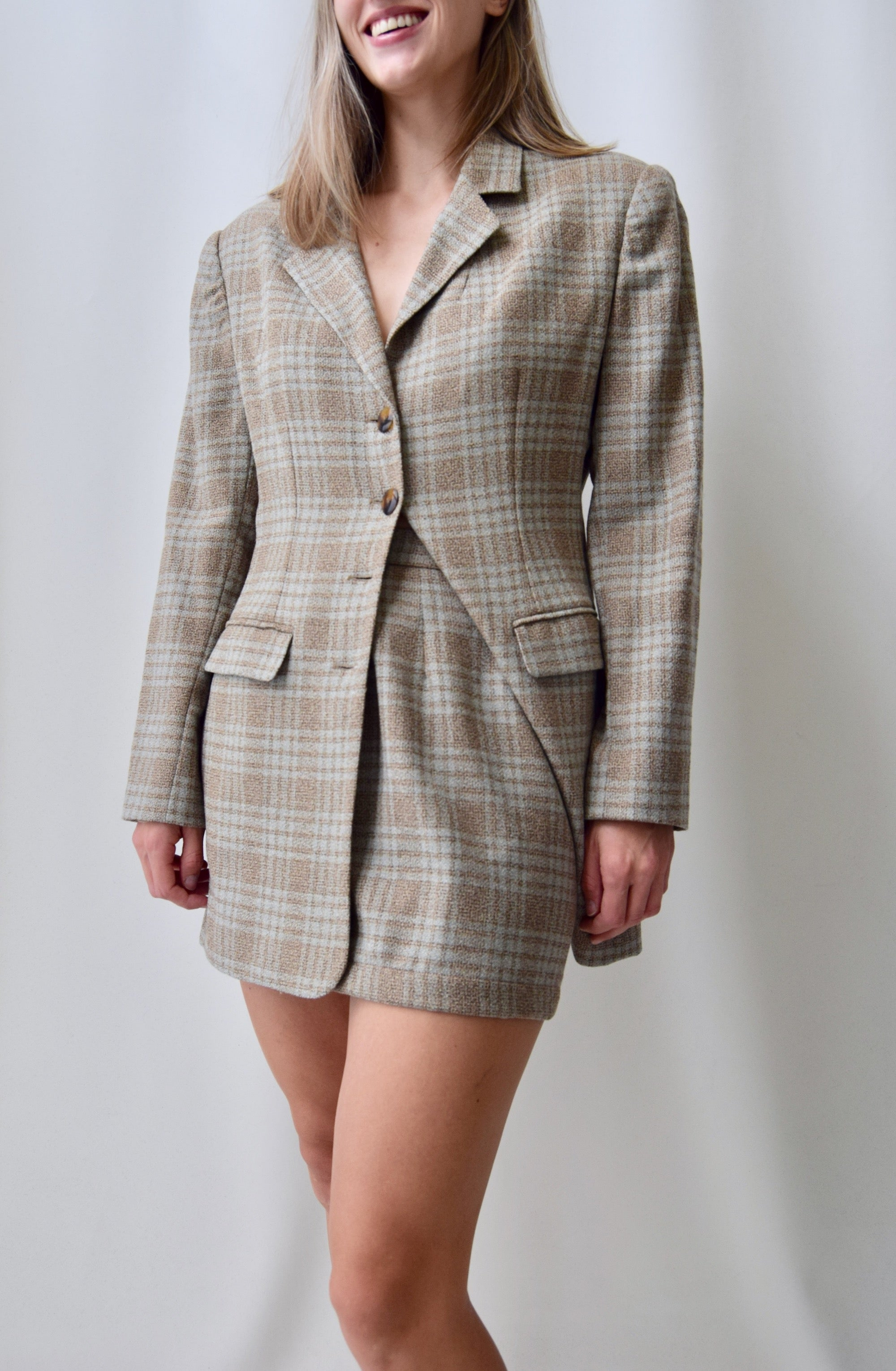 Nineties Plaid Wool Mini Skirt Suit