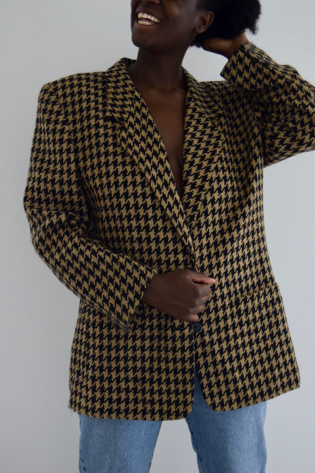 Large Camel and Black Houndstooth Blazer