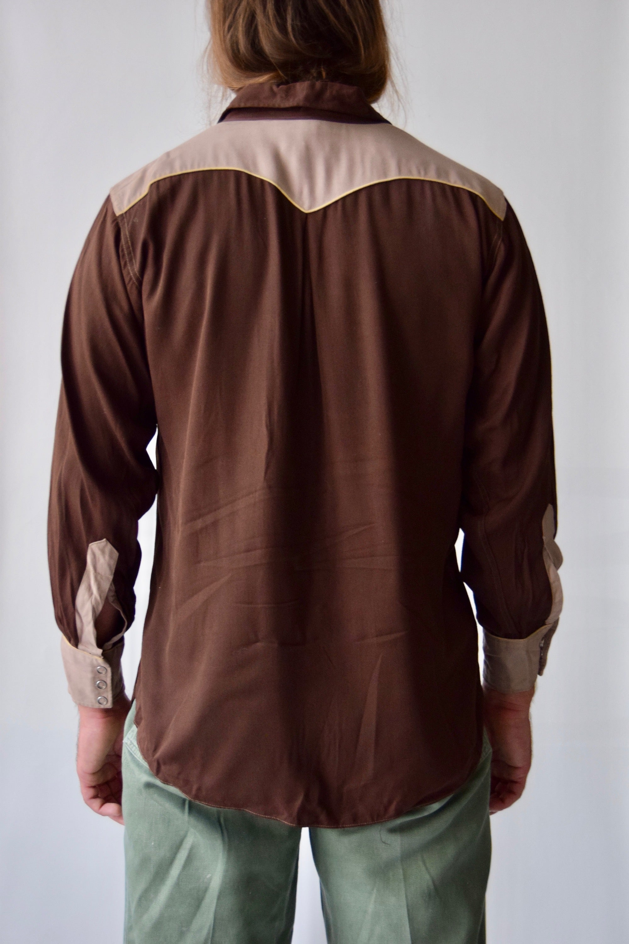 1940's H Bar C Mens Gabardine Western Shirt