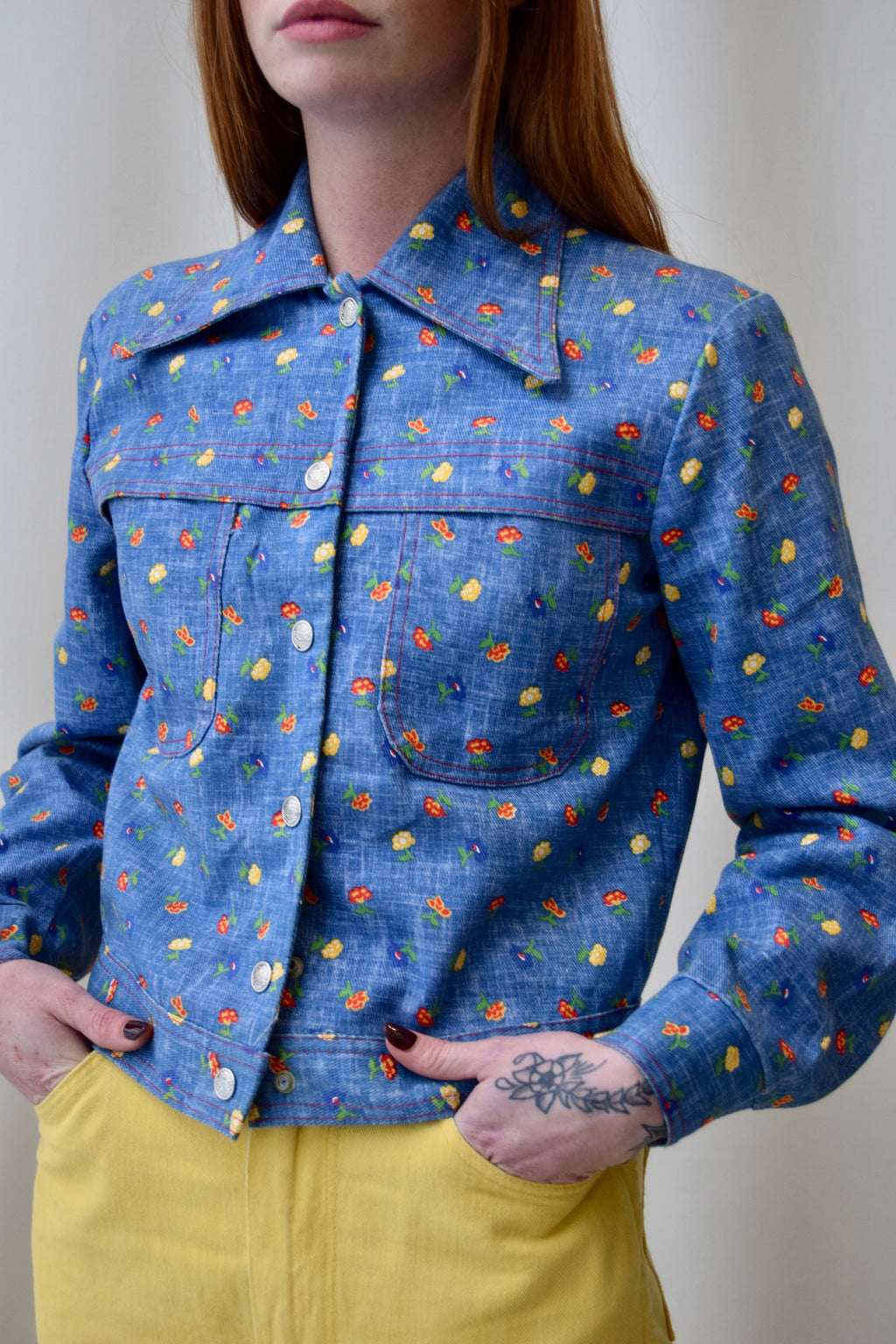 "1960's ""Bogart of Texas"" Floral Faux Denim Jacket FREE SHIPPING TO THE U.S."