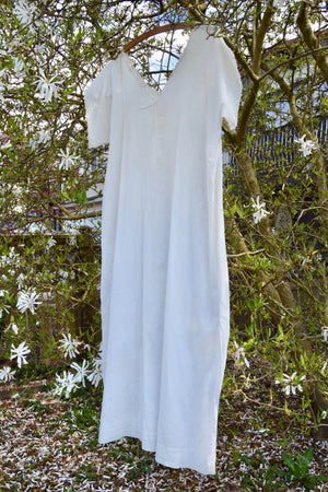 Antique Cotton Nightgown With Embroidery Detail
