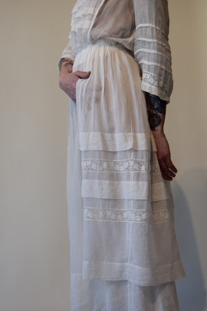 Antique Edwardian White Tea Dress with Faux Apron Detail FREE SHIPPING TO THE U.S.
