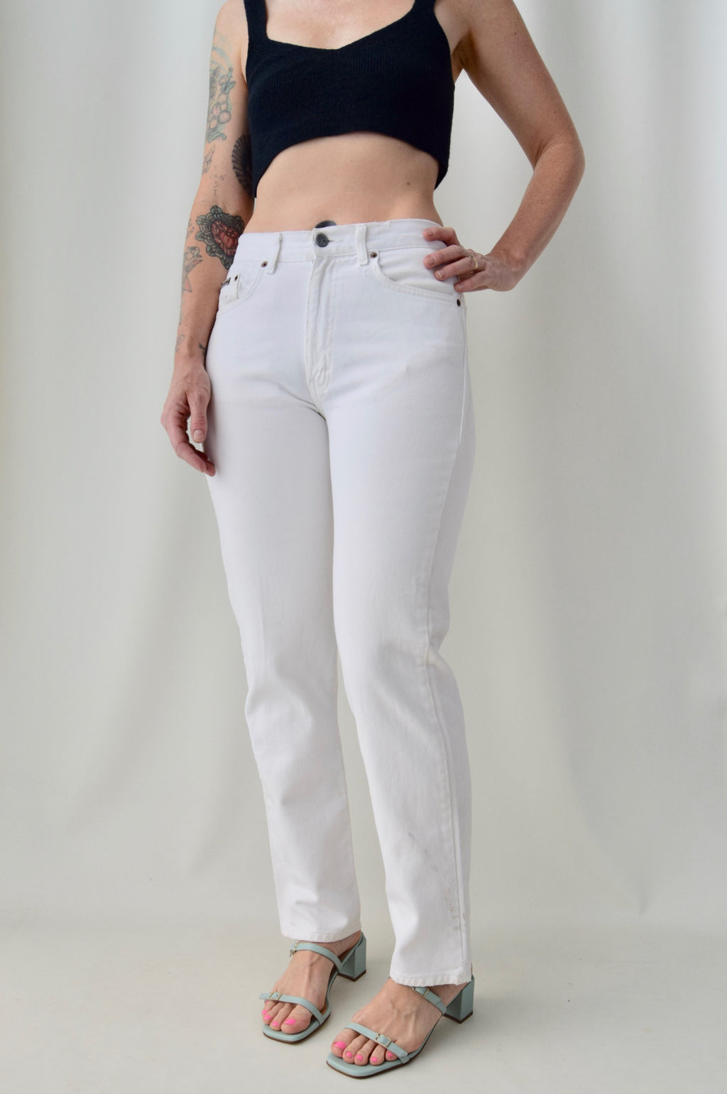 Tattered White CK Jeans