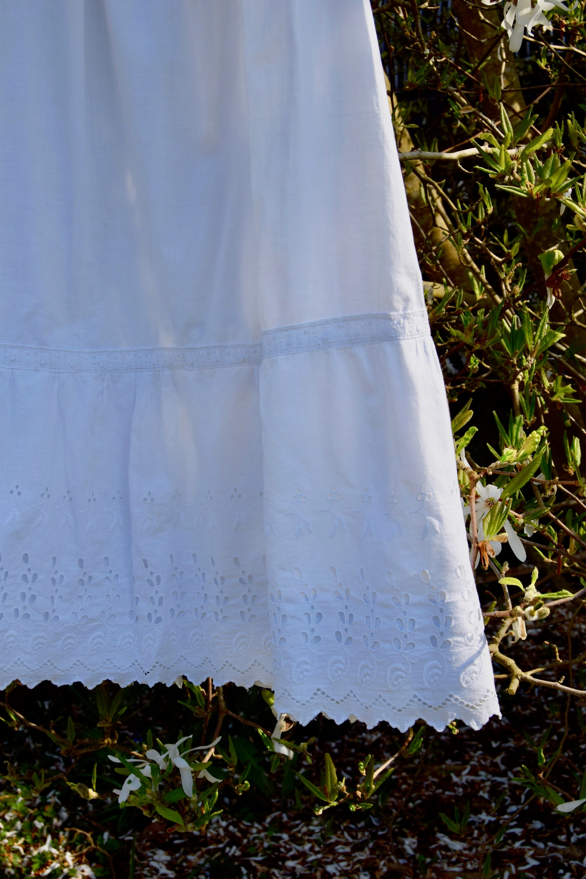 Antique White Cotton Crochet And Eyelet Dress