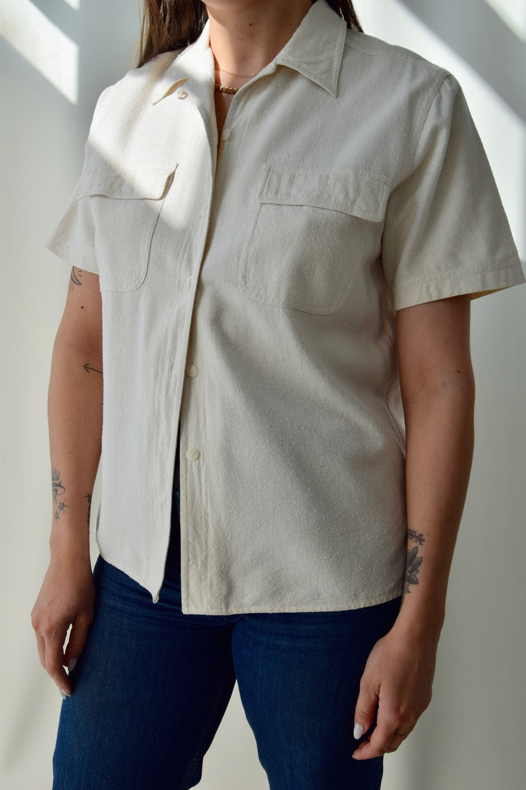 Vintage White Raw Silk Blouse FREE SHIPPING TO THE U.S.