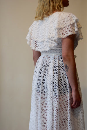 Vintage White Floral Cutout Floor Length Dress