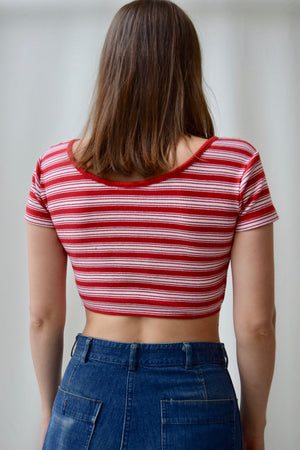 90's Striped Ribbed Crop Top