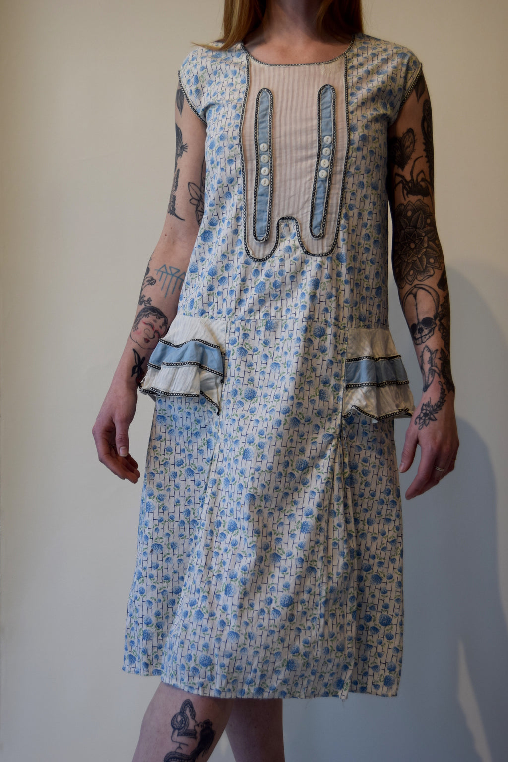 Vintage 1920's Cotton Blue Floral Day Dress with Ruffle Hips FREE SHIPPING
