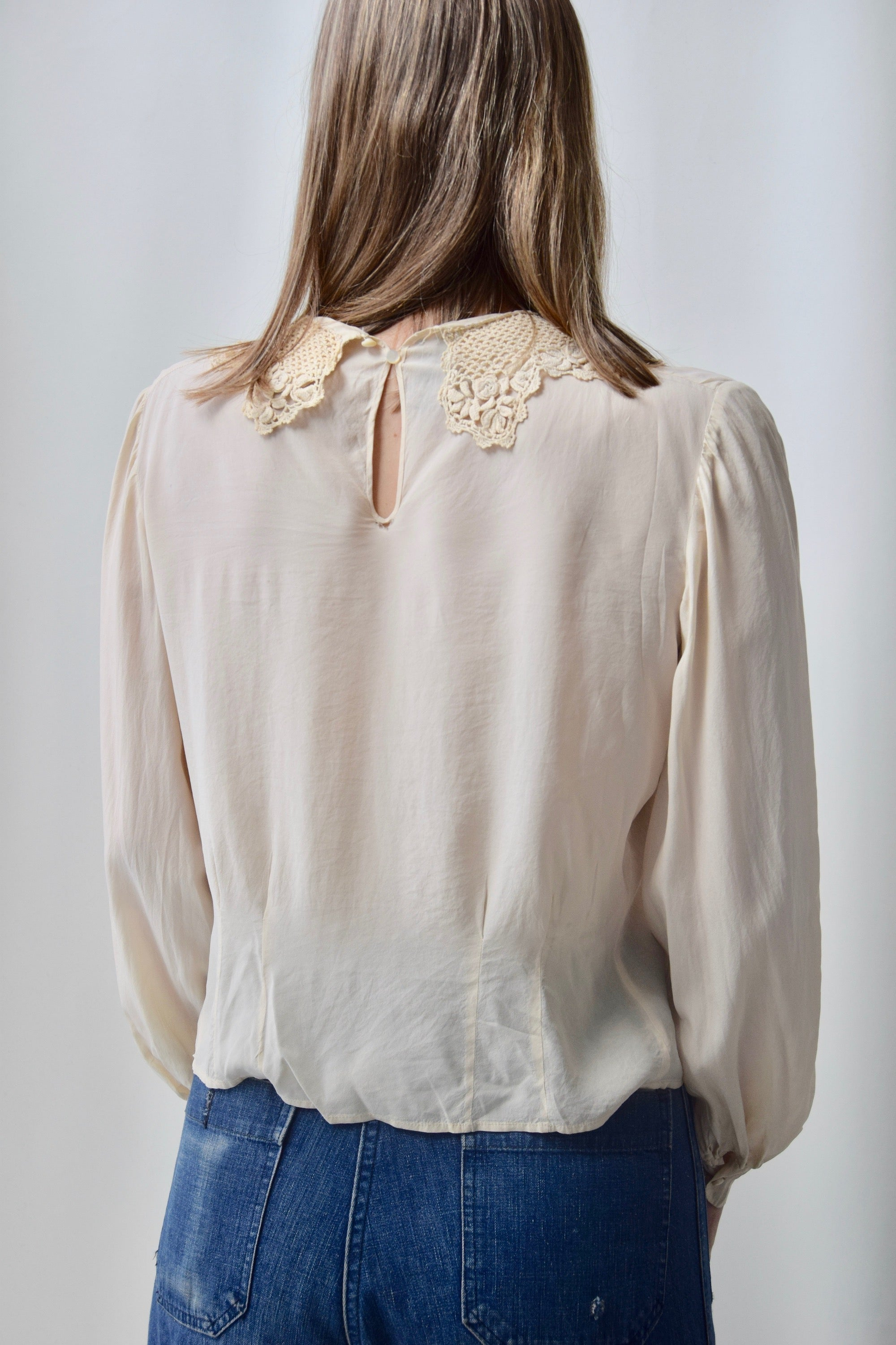 Olden Crocheted Collar Ivory Silk Blouse