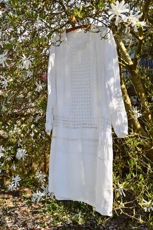 Antique Linen And Crochet Dress