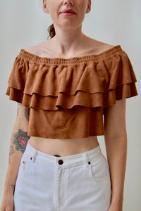 Ruffle Suede Crop Top