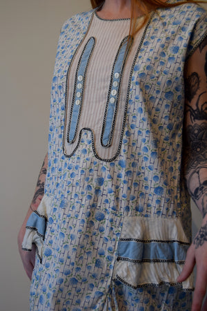 Vintage 1920's Cotton Blue Floral Day Dress with Ruffle Hips FREE SHIPPING TO THE U.S.
