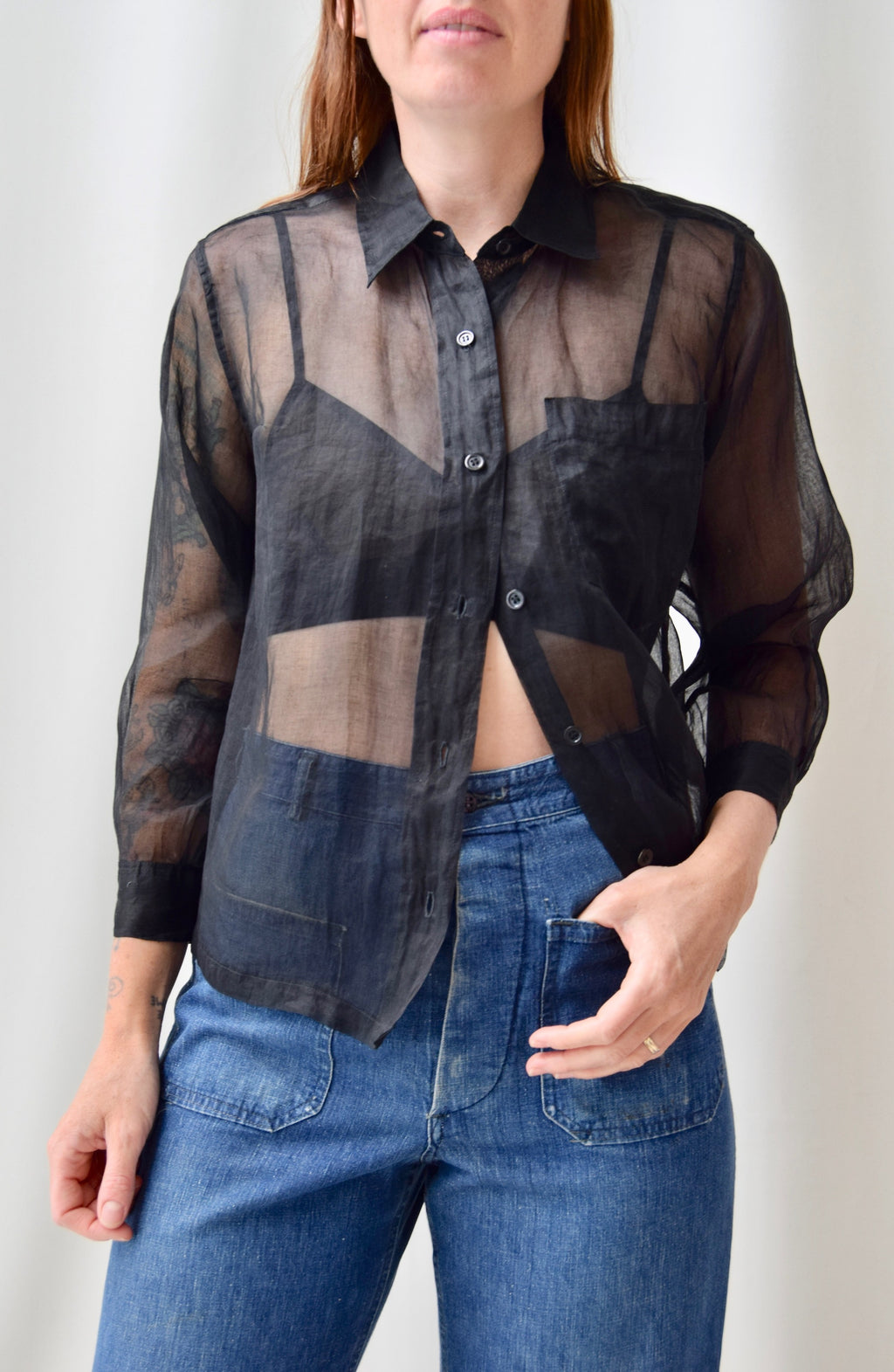 Kenzo Sheer Black Button Up