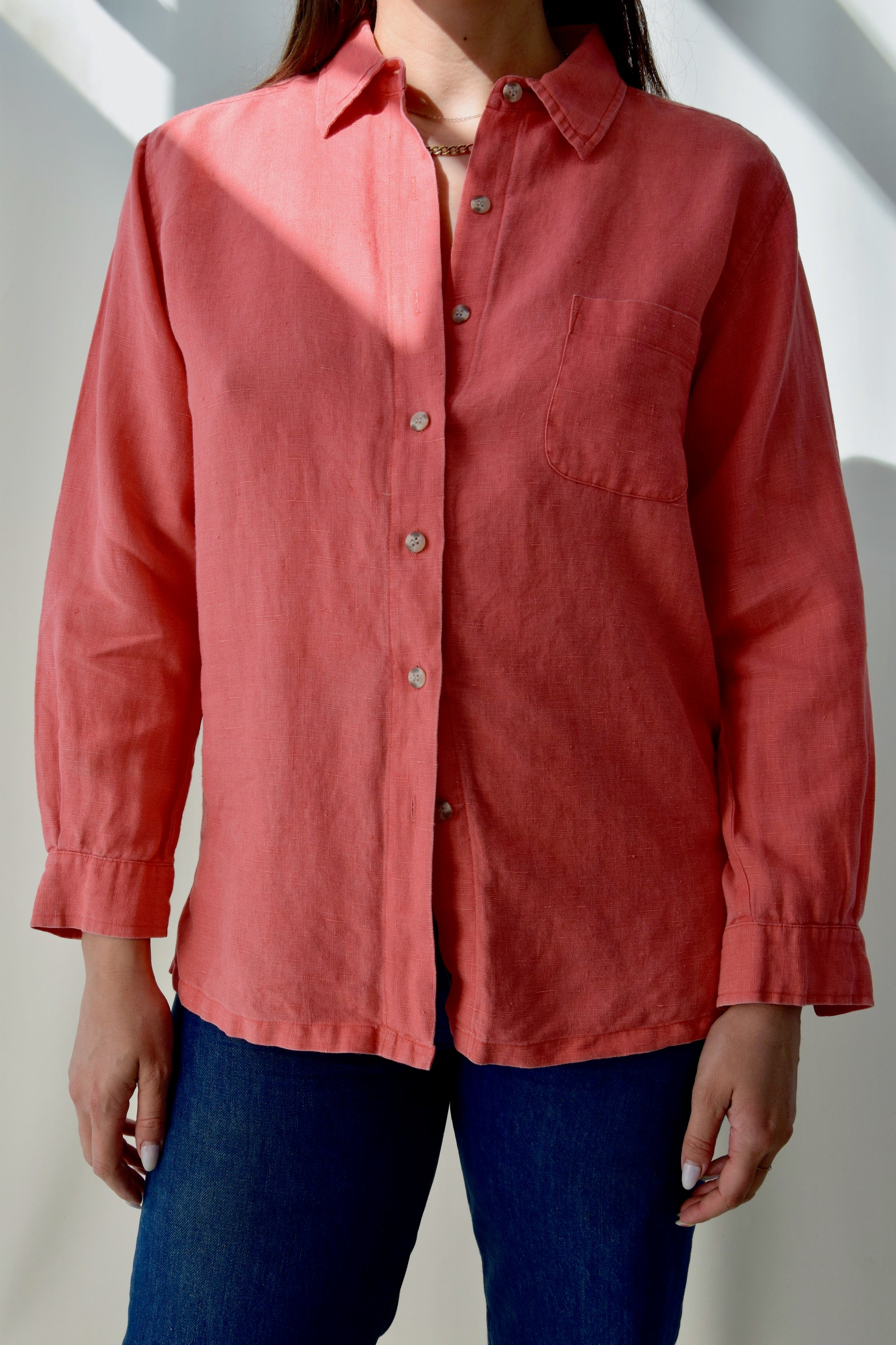 Salmon Linen Blouse