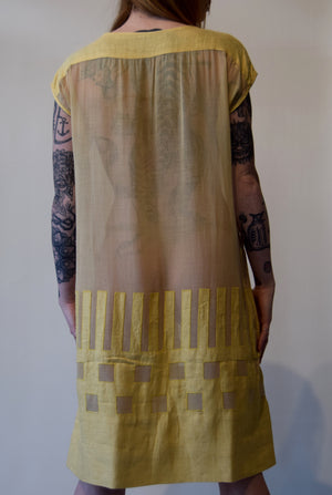 Vintage 1920's Yellow Linen and Cotton Summer Dress FREE SHIPPING