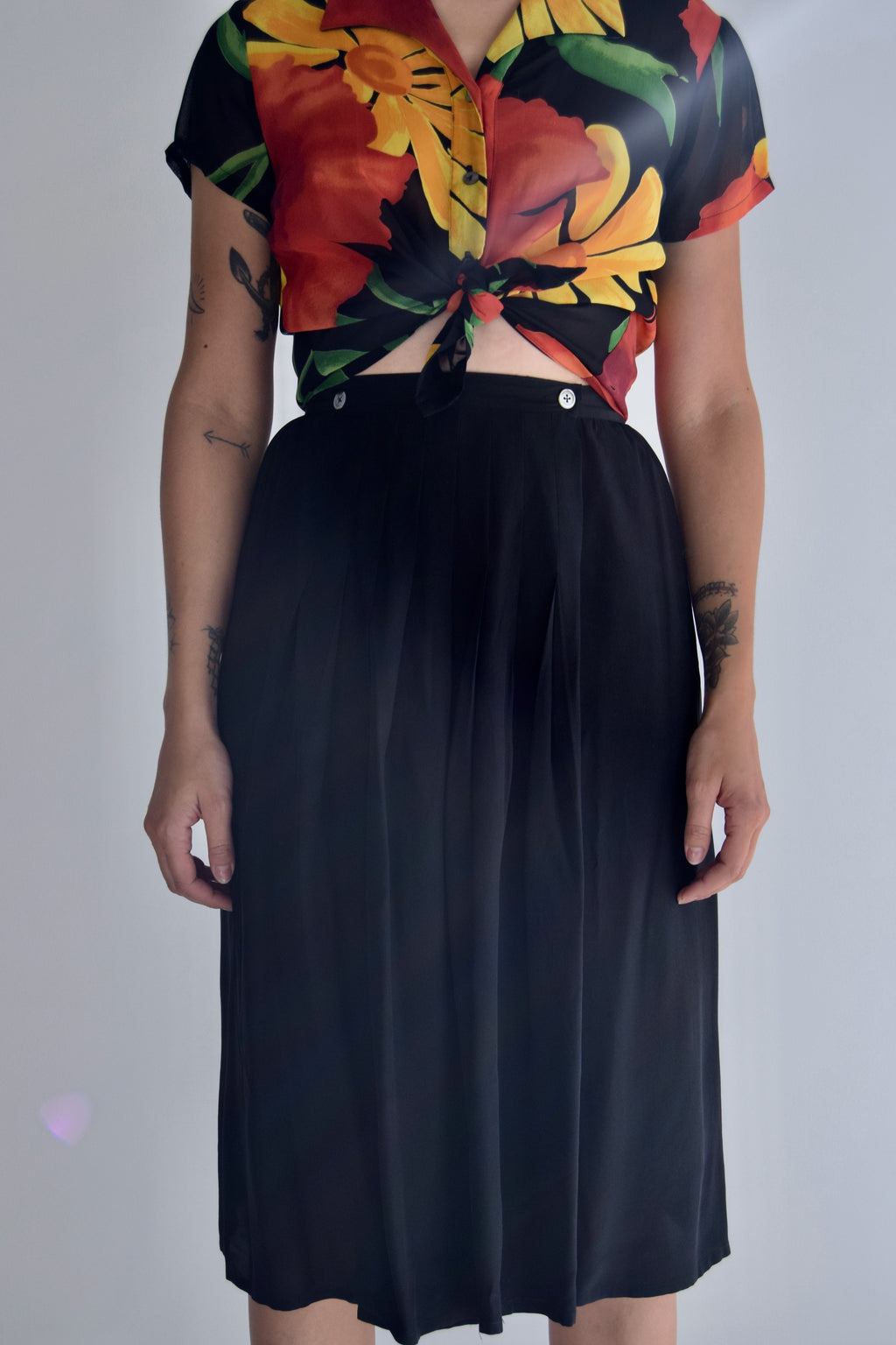 Ink Black Silk Wrap Skirt FREE SHIPPING