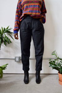 Charcoal Textured Wool Pants