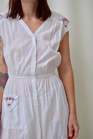 "1970's ""Moonglow"" Sheer White Cotton Dress"