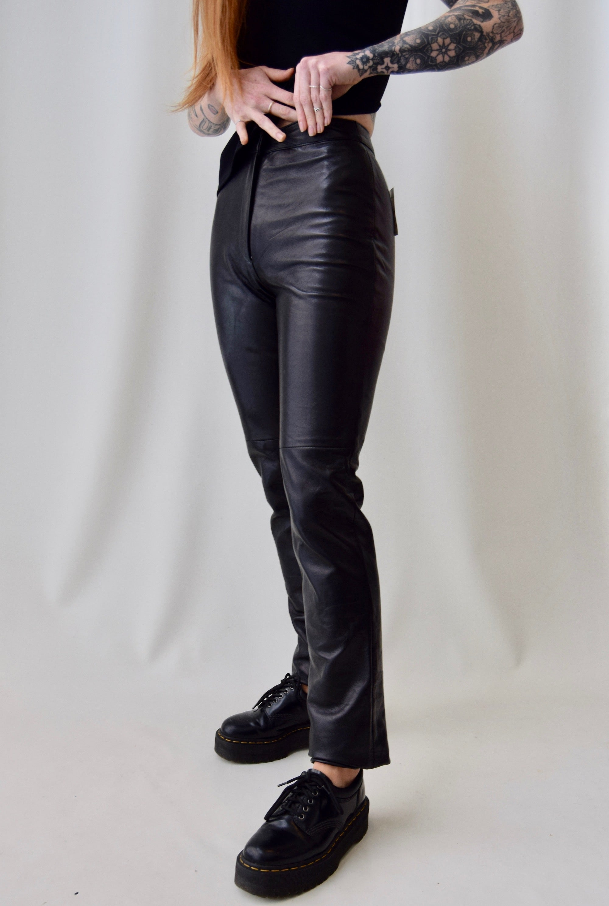 Sexy Black Leather Pants