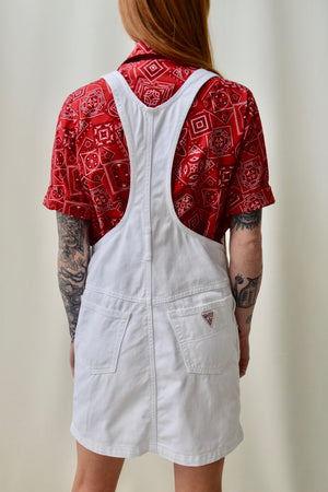 "Vintage ""Guess"" White Denim Overall Dress"
