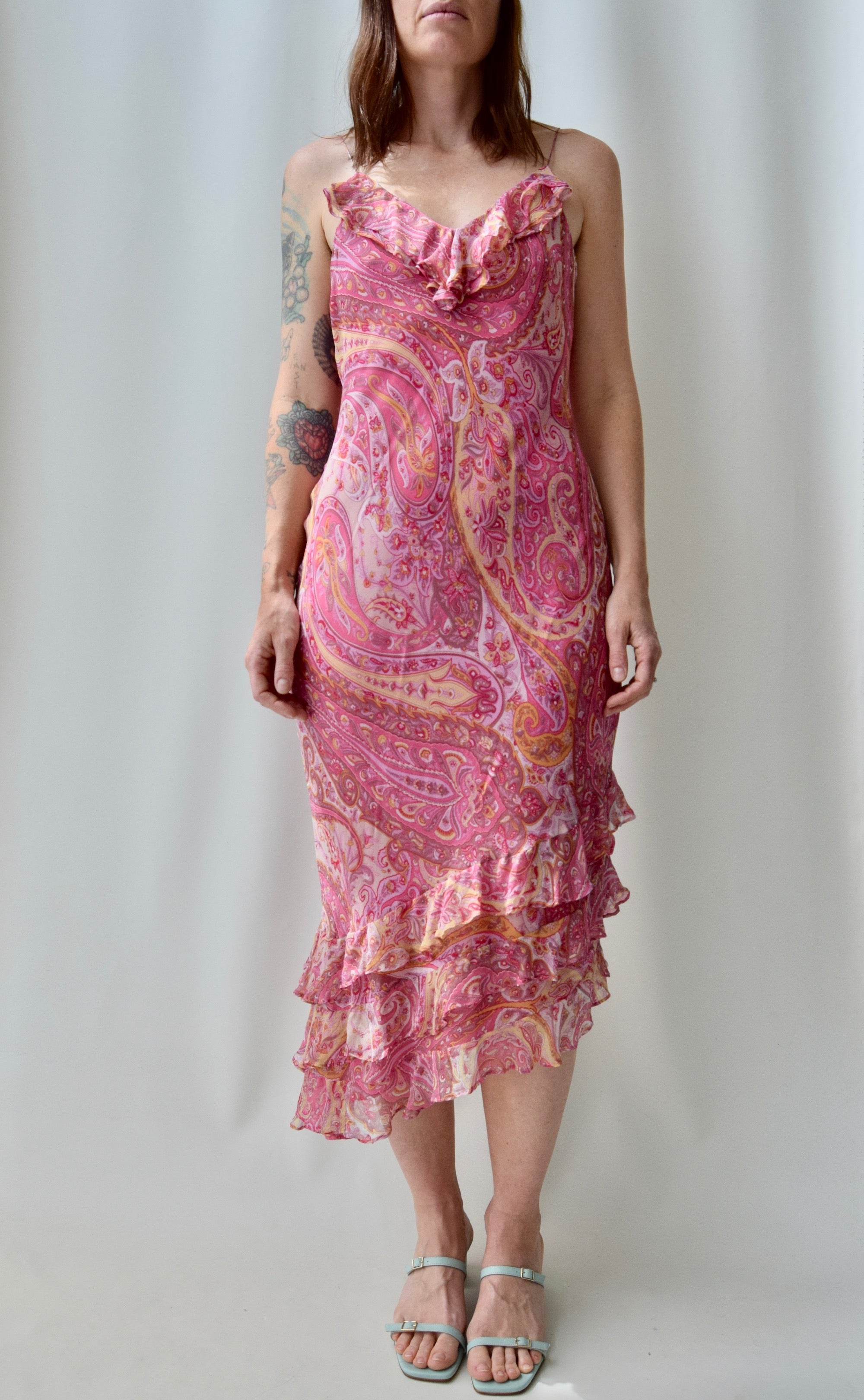 Pink Paisley Silk Bias Cut Ruffle Dress