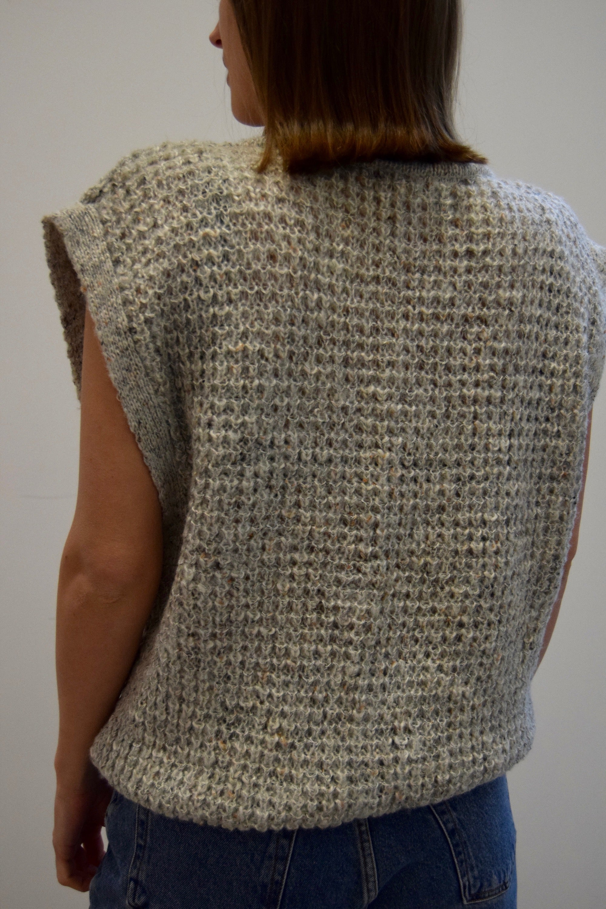 Pebbled Grey Waffle Knit Top
