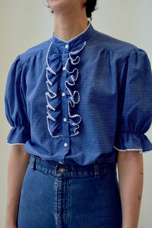 Blue and White Ruffled Grid Blouse