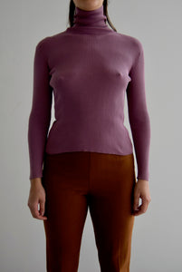 Mauve Silk Ribbed T-Neck Sweater FREE SHIPPING