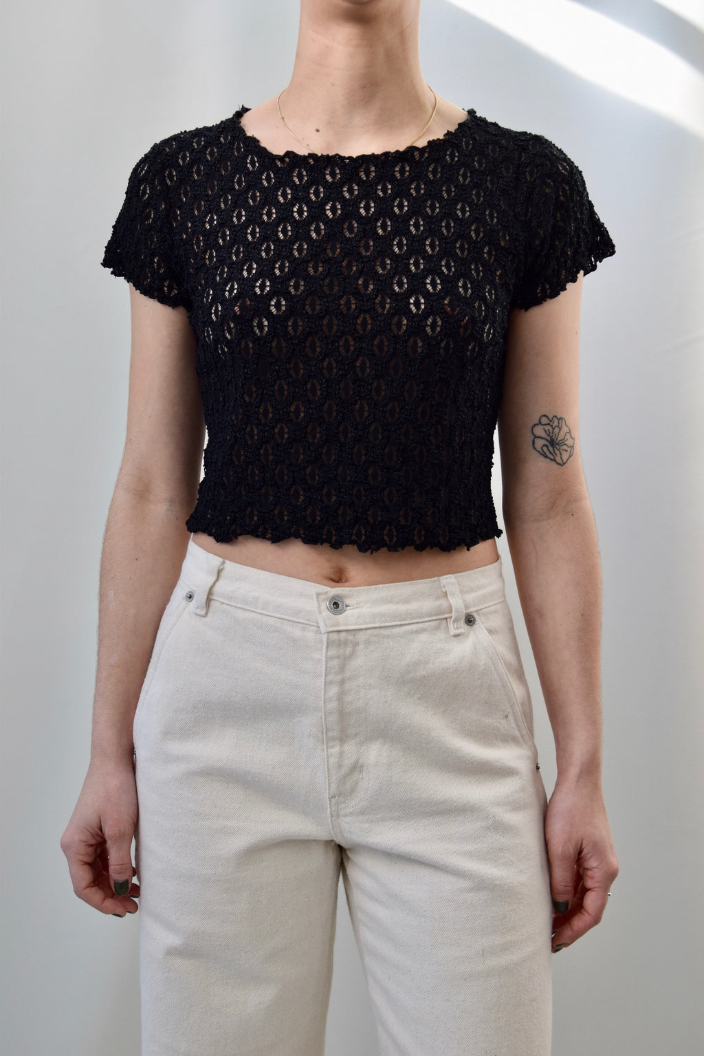 Black Lace Lettuce Edge Crop Top FREE SHIPPING TO THE U.S.