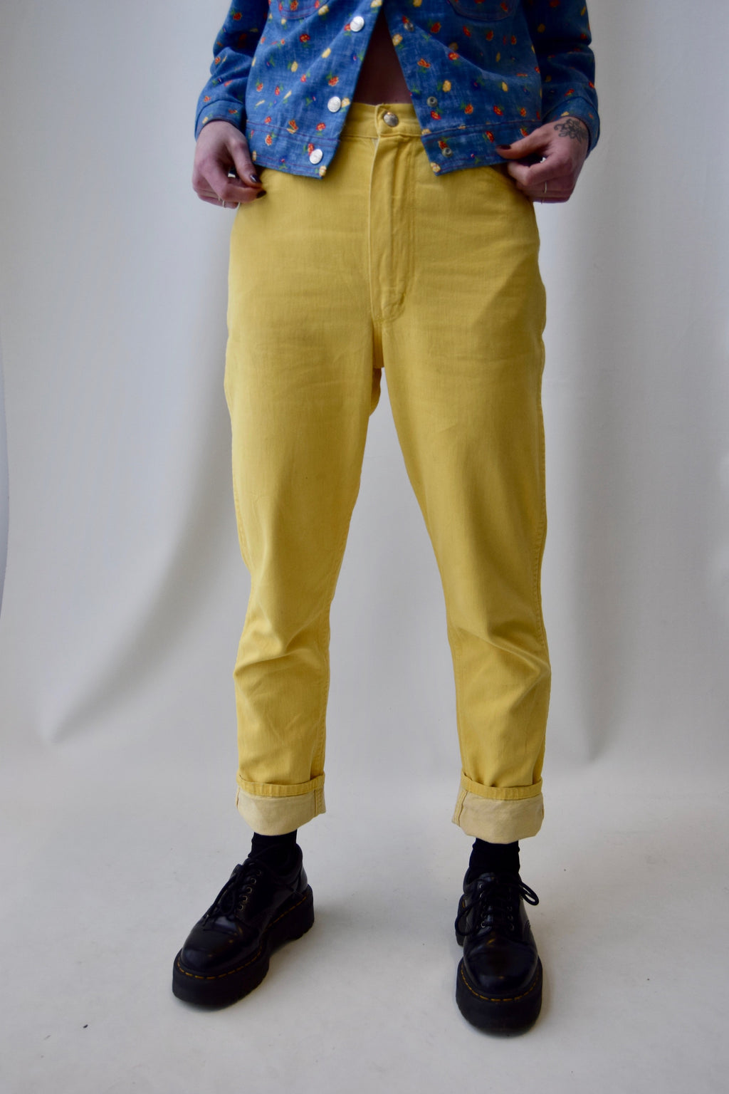 1960's Wrangler Misses Sunny Yellow Jeans FREE SHIPPING TO THE U.S.