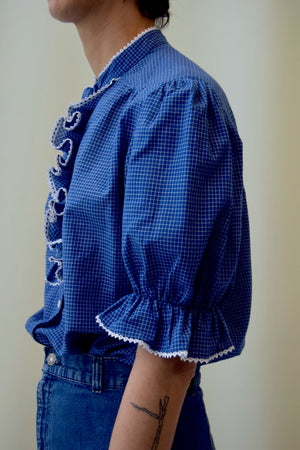 Blue and White Ruffled Grid Blouse FREE SHIPPING TO THE U.S.