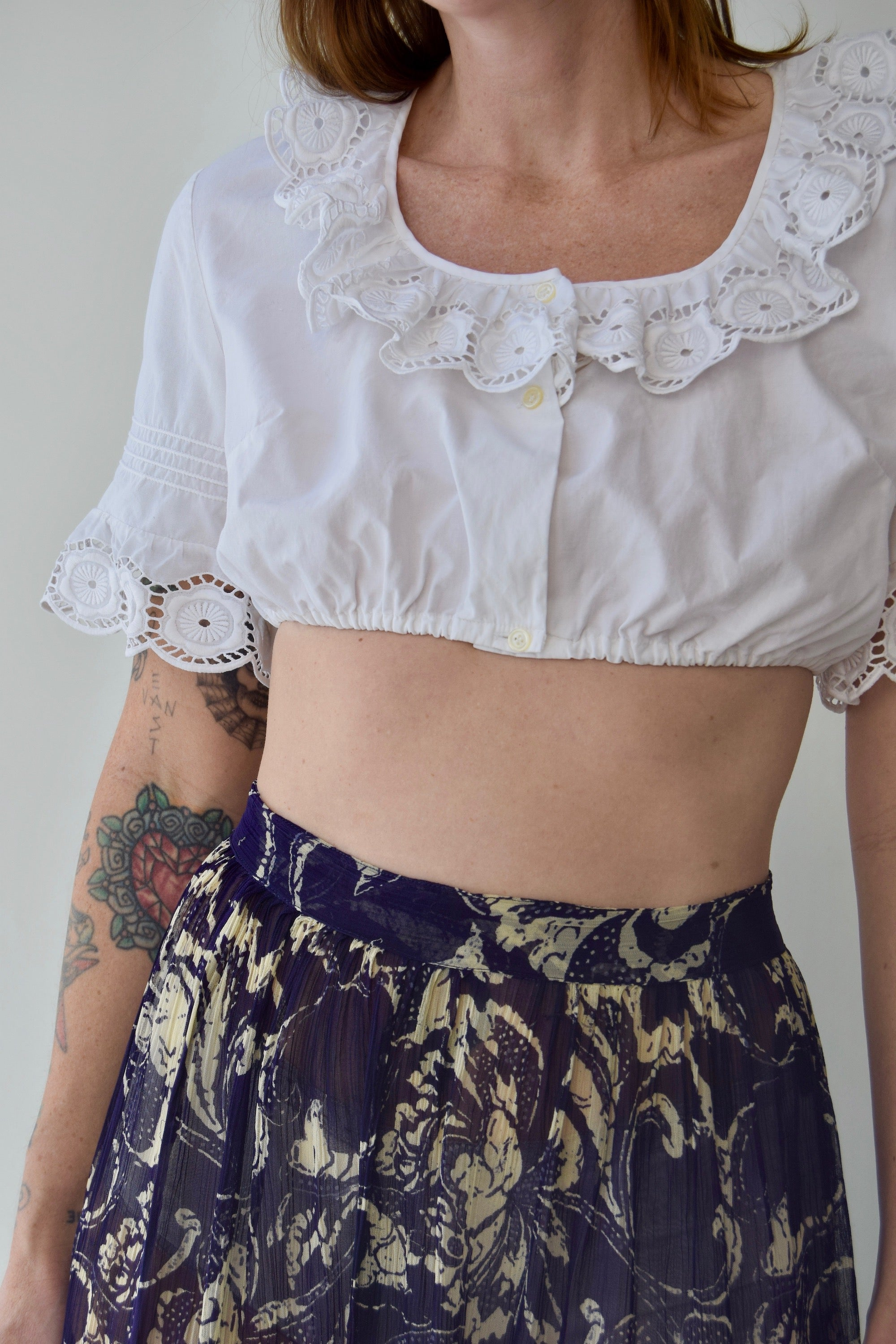 Eyelet Ruffle Bra Crop Top