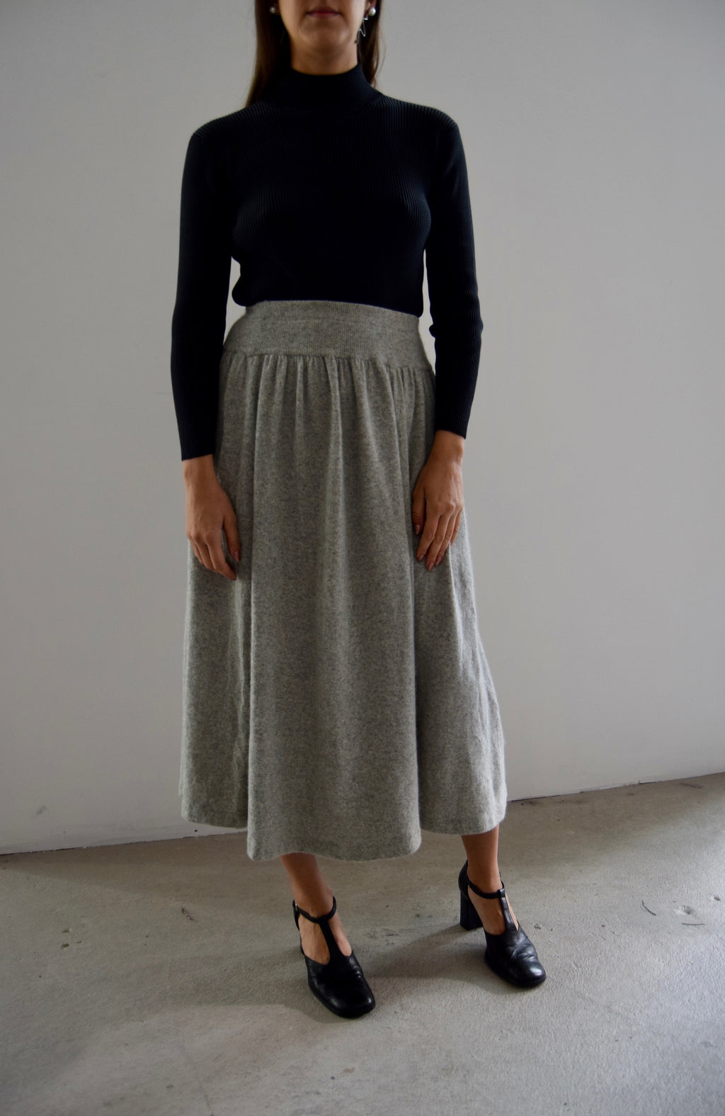 Heather Grey Lambswool Knit Skirt