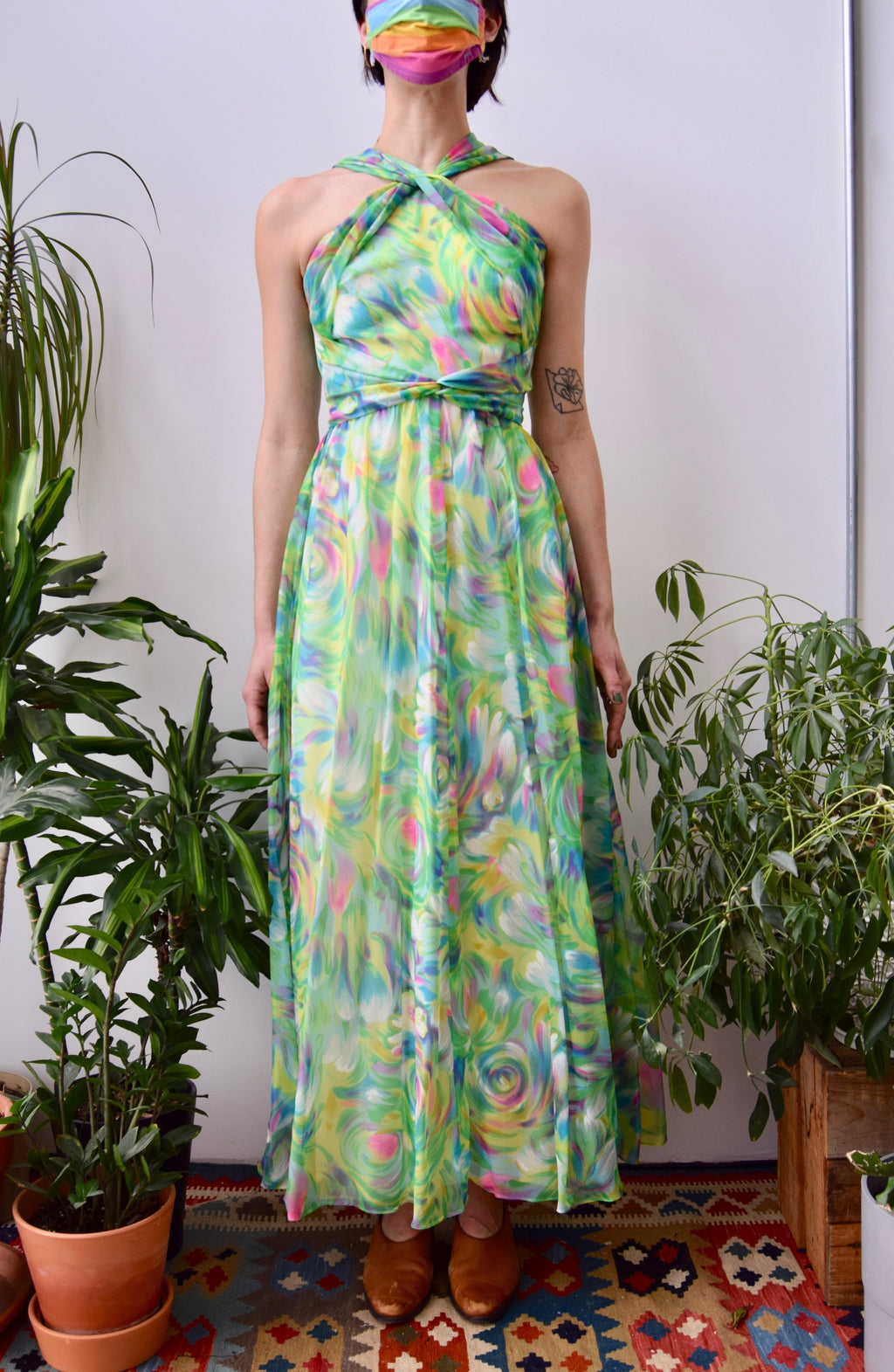 Seventies Swirled Chiffon Dress
