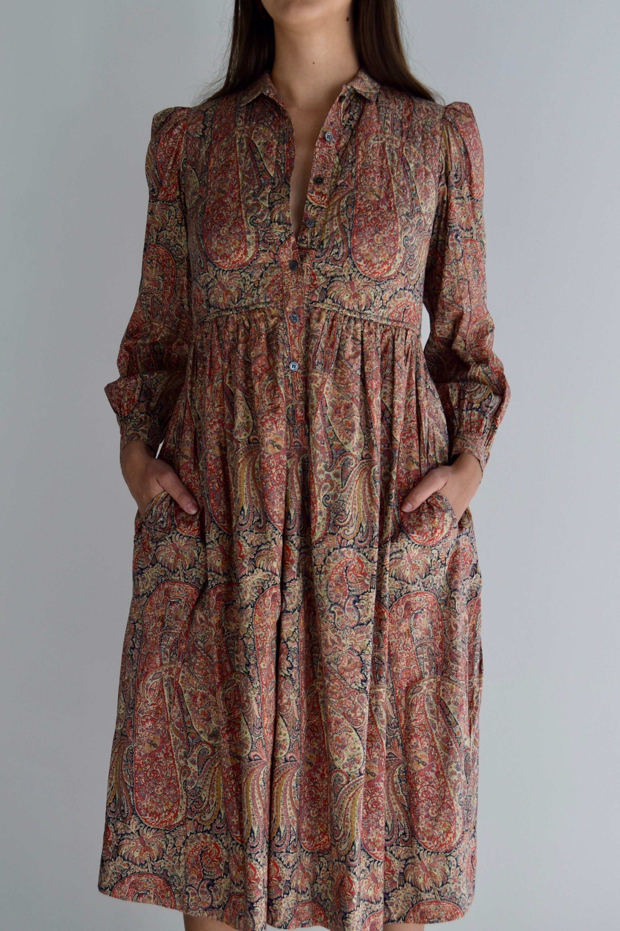 "Vintage ""Jaeger"" Paisley Quilted Dress FREE SHIPPING"